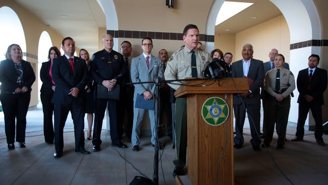 Riverside County Sherif Captain Andrew Shouse speaks to media after a multi agency gang raid in Coachella on Thursday, February 25, 2016. Photo taken at the Riverside County Sheriff's Station in Thermal.