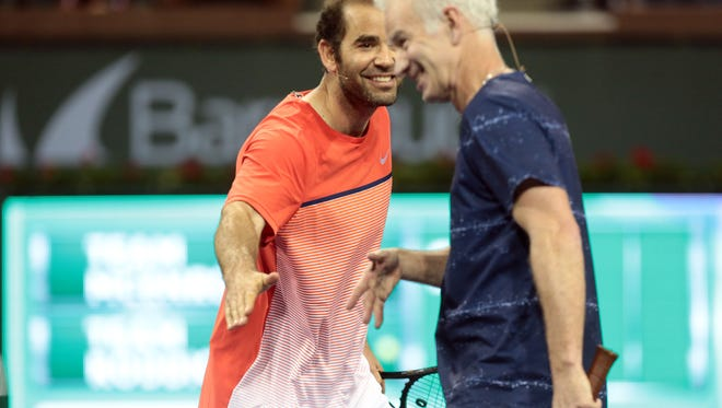 Pete Sampras and John McEnroe in action during the McEnroe Challenge for Charity on Saturday, March 5, 2016 on Stadium 2 at the Indian Wells Tennis Garden.