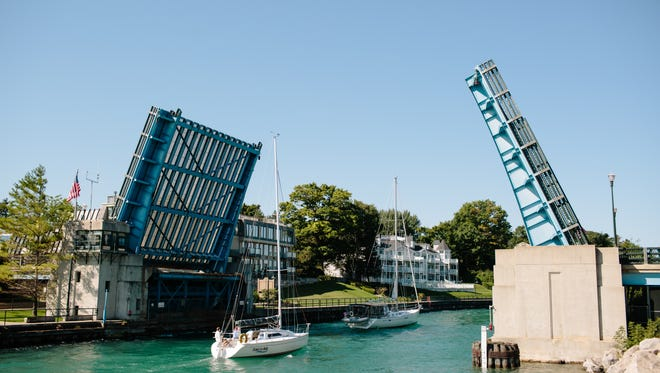 Downtown Charlevoix features  a drawbridge.