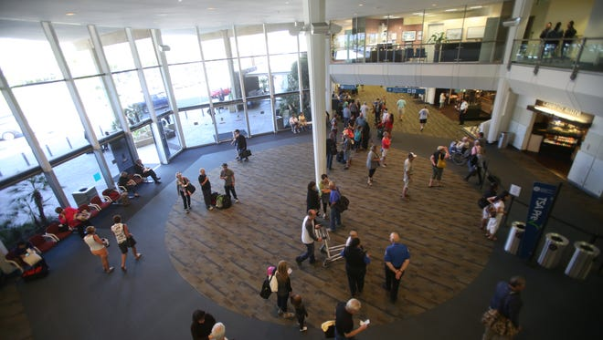 The main terminal at Palm Springs International Airport is often buzzing with activity.