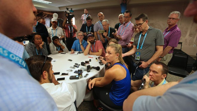 Angelique Kerber, of Germany, speaks to media during the BNP Paribas Open on Wednesday, March 9, 2016 in Indian Wells, CA.