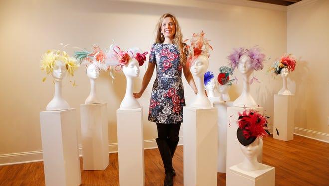 Local milliner Kenzie Kapp in her design studio with her hats. March 10, 2016.
