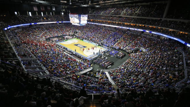 Wells Fargo Arena is packed for the the Indiana vs. Kentucky NCAA Men's Basketball Tournament second round game on Saturday, March, 19, 2016.