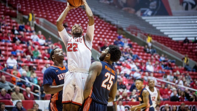 Jeremie Tyler takes the shot during the Sunday game against UT Martin. Ball State won in overtime with a final score of 83-80.