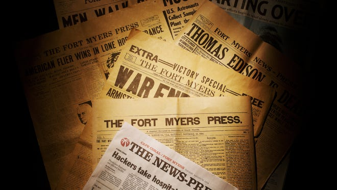 A selection of The News-Press newspapers dating back to 1884 when the Fort Myers Press came into existence. Fort Myers is celebrating 130 years this Sunday.