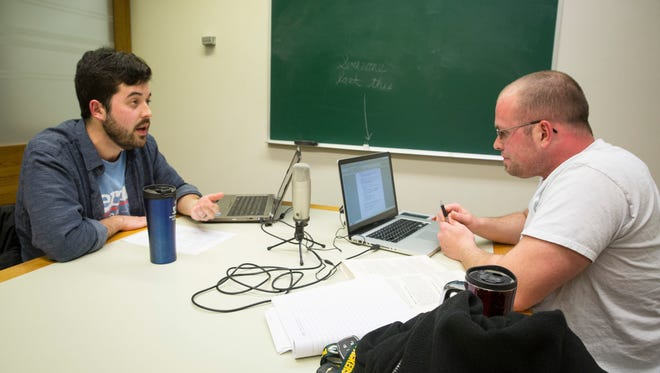 """Todd Blevins, left, and Rich Usdowski, right, record their podcast """"The Donkey Elephant Show"""" on Monday in one study rooms inside Ball State University's Bracken Library."""