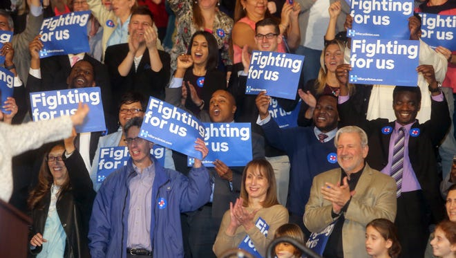 Supporters of Hillary Clinton cheer during her speech at Purchase College March 31, 2016. This was Clinton's first campaign appearance in Westchester County in advance of the April 19th New York primary.