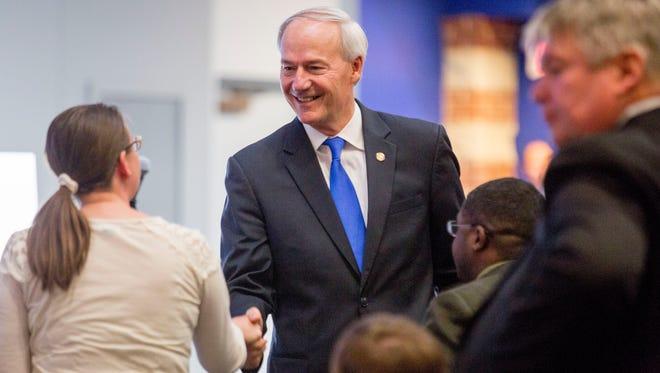 Arkansas Gov. Asa Hutchinson speaks during a town hall event about Arkansas Works at Central Baptist College Tuesday, March 22, in Conway.