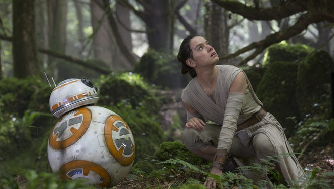 BB-8 and Rey (Daisy Ridley) in a scene from  'Star Wars: The Force Awakens,'  which took home the top prize at the 2016 MTV Movie Awards.