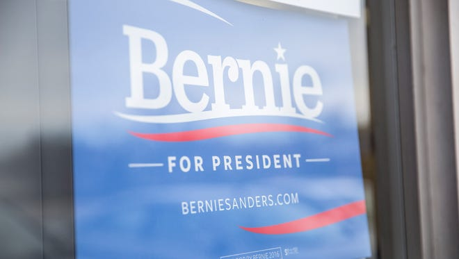 A campaign poster at Bernie Sanders' office in Muncie.