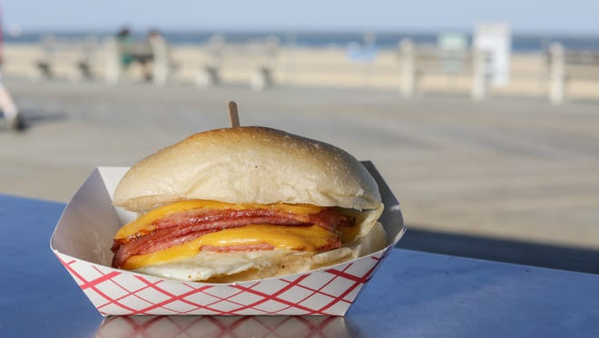 A pork roll, egg and cheese sandwich from Hoagitos.