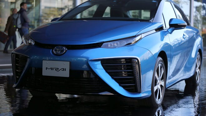 Toyota Motor's hydrogen fuel cell vehicle FCV Mirai is displayed after its unveiling event in Tokyo two years ago