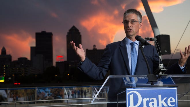 """Drake University President Earl """"Marty"""" Martin speaks at a September event at the Brenton Skating Plaza in downtown Des Moines."""