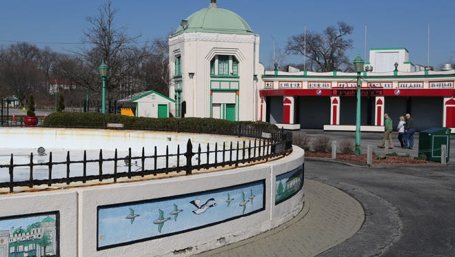 The fountain at the entrance to Playland in Rye in March. Lawmakers are considering $58 million worth of work at Playland.