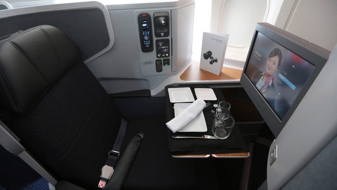 A first-class seat on an American Airlines Boeing 777-300ER.