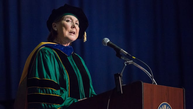 President Deborah Snyder speaks during the St. Clair County Community College commencement ceremony Friday, May 6, 2016 at McMorran Arena in Port Huron.