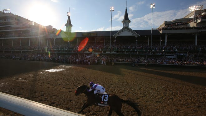 Nyquist, with Mario Gutierrez up, wins the Kentucky Derby.