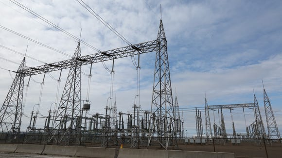 Transmission lines at the James A. Fitzpatrick Nuclear Power Plant near Oswego