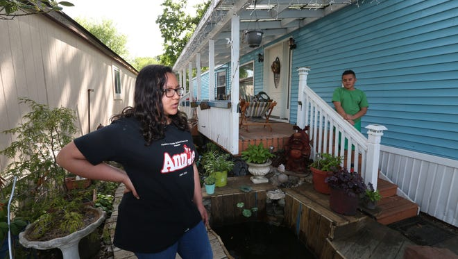 Talina Lopez and her brother, Jaylen, at their home at the Ba Mar mobile home park in Stony Point May 12, 2016.