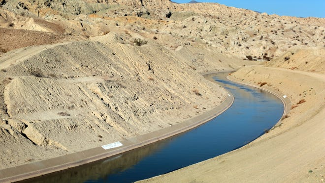The Coachella branch of the All-American Canal carries water from the Colorado River to the Coachella Valley. This portion of the canal is located near the Salton Sea in Mecca.