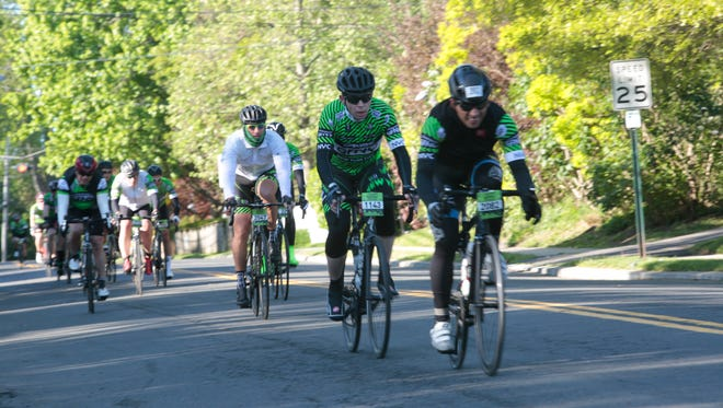 Hundreds of cyclists from around the world participate in the Gran Fondo New York 100, an 100 mile course starting in New York and winding through Rockland County up to Bear Mountain then back to New York on May 15, 2016.