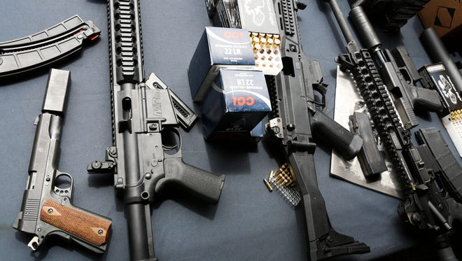 Rifles and handguns with silencers during the 3rd Annual ASA media day event at Knob Creek Gun Range. May 19, 2016
