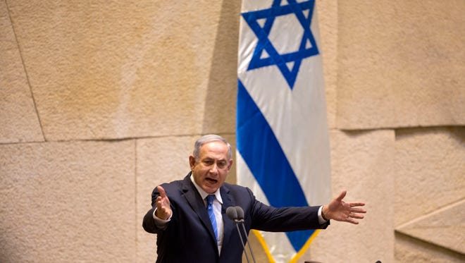 Ohio should not refuse to do business with companies that boycott Israel, the editorial board says. Shown, Israeli Prime Minister Benjamin Netanyahu, speaks at the Knesset, Israel's parliament in Jerusalem, on Monday.