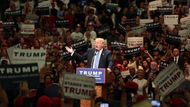 Thousands came out to see Donald Trump speak at the Anaheim Convention Center on Wednesday, May 25, 2016.