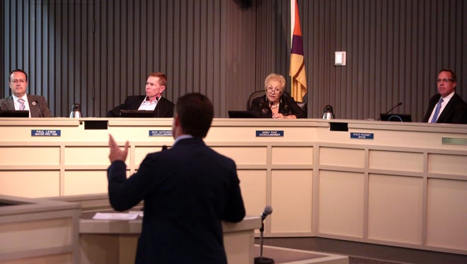 photos by Richard Lui/The Desert Sun The Palm Springs City Council listens to a tourism presentation in October 2015. A proposal to make meeting operate more efficiently would shorten presentation times from 10 minutes to five minutes.