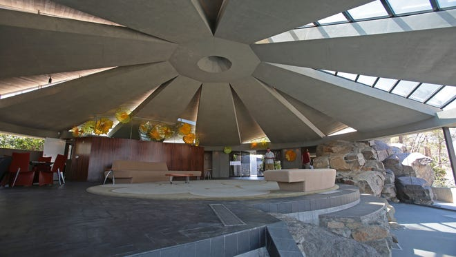 The Elrod House by American architect John Lautner which was featured in the 1971 James Bond movie 'Diamonds are Forever' is on the market. The house is one of several designed by Lautner in Southridge in Palm Springs. Photo taken on Thursday, May 2, 2016 in Palm Springs.