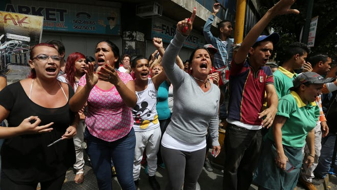 Protesters in Caracas, Venezuela, on June 2, 2016.
