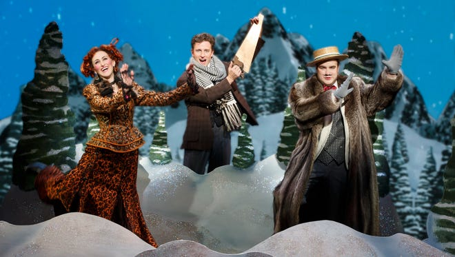 """Lesley McKinnell as Miss Barley, Kevin Massey as Monty Navarro and John Rapson as Asquith D'Ysquith, Jr. in a scene from """"A Gentleman's Guide to Love & Murder."""""""