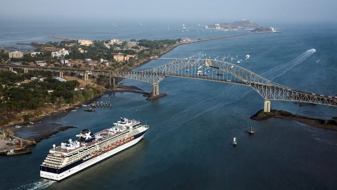 The Celebrity Infinity sailing through the Panama Canal.