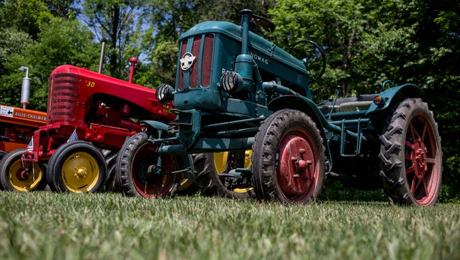 A German Hanomag tractor is displayed during an antique tractor show Saturday, June 18, 2016 in Lexington.