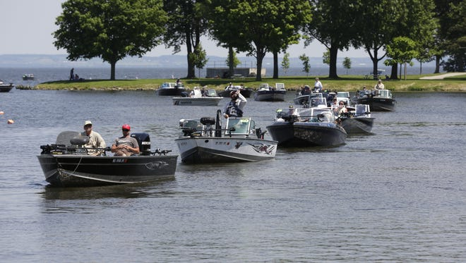 Battle on Bago Walleye fishing tournament along with Otter Street fishing club is a two day, June 18 - 19, walleye tournament with total prizes of over $105,000 held in Menominee Park.   Joe Sienkiewicz / USA TODAY NETWORK-Wisconsin