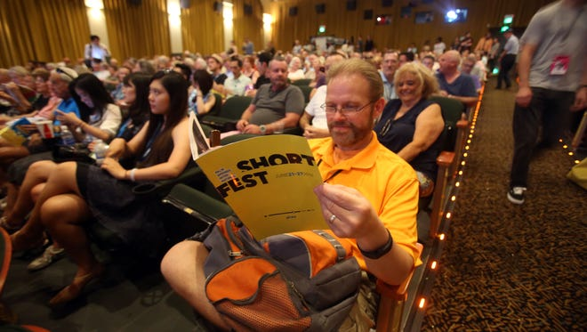 Movie goers inside the Camelot Theatre for the opening night of the Palm Springs International ShortFest on Tuesday, June 21, 2016 in Palm Springs.