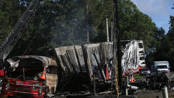A bus traveling south on Woodville Highway was hit by a semi-truck traveling west on U.S. Highway 98 in Wakulla County on Saturday morning, leaving four people dead and 25 more hospitalized.