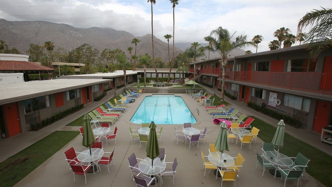 The Skylark Hotel is one of 35 hotels in the Coachella Valley faced with Americans with Disabilities Act lawsuits claiming the hotel pool lacks the proper lifts to assist disabled guests into the water.  The Skylark Hotel in Palm Springs, Monday, July 14, 2014.