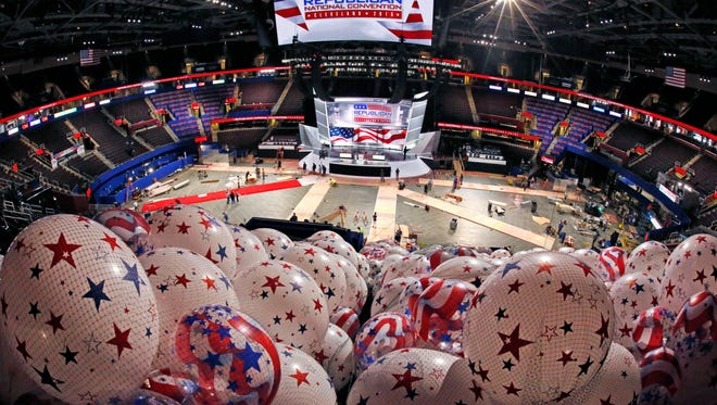 Balloons wait to be hoisted into the rafters of the Quicken Loans Arena in Cleveland, Thursday, July 14, 2016, as work continues in preparation for the upcoming Republican National Convention in downtown Cleveland, Ohio.