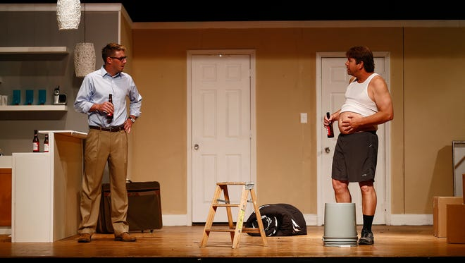 "Kevin Hendricks, playing Bill, left, acts with Keith Gahagan, playing Jack, during a full dress rehearsal of the dual-actor, two-act play, ""Things Being What They Are,"" at Golden Gate Community Center's Joan Jenks Auditorium in Golden Gate, Fla. The Studio Players presents its summer play, a dramatic comedy about two neighbors who are each what the other resents Ð one, a by-the-book kind of guy whose wife is cheating on him, and the other a man  who was cheating on his wife and is trying to cover his remorse. SThe comedy-drama opens Friday."