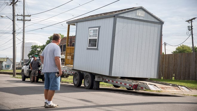 Bridges Community Services has the first two of six tiny homes for the homeless on Monday at the BCS facility. Each of the homes provides 96 square feet of living space.
