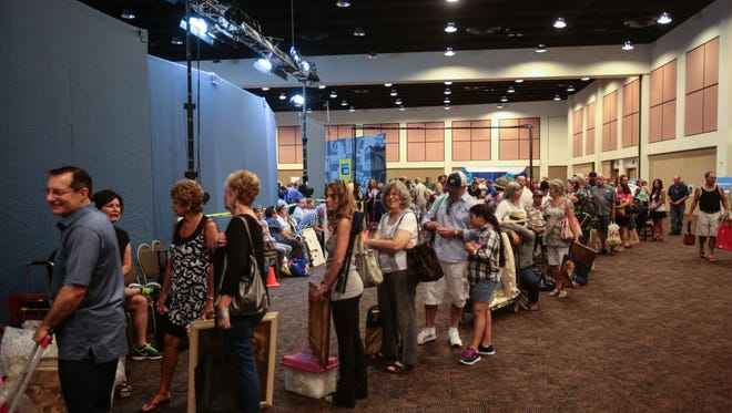 File: Thousands lineup to have their antiques and family heirlooms appraised by experts when the Antiques Roadshow stopped by the Palm Springs Convention Center in Palm Springs, CA on Saturday, August 6, 2016.