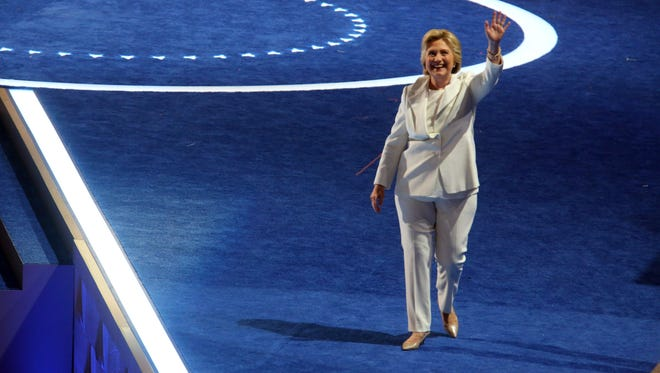 Hillary Clinton acknowledges the crowd before Clinton spoke during the final session of the Democratic National Convention at the Wells Fargo Arena in Philadelphia July 28 2016.