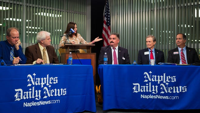 Collier County Commission District 2 candidates, from right, Andy Solis, James Carter and James Calamari participate in an election forum in the Naples Daily News studio on Wednesday, Aug. 17, 2016, in North Naples.