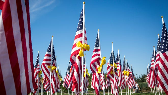 Guests attend the opening ceremony for the Flags of Honor display Sunday afternoon at Minnetrista. The flags will be on display until Sept. 11.