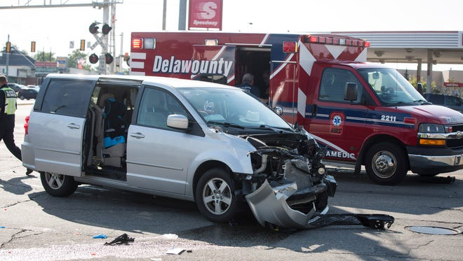 Three people were sent to the hospital Friday, Sept. 9, 2016 following a three vehicle crash at the intersection of East McGalliard Road and North Broadway Avenue.