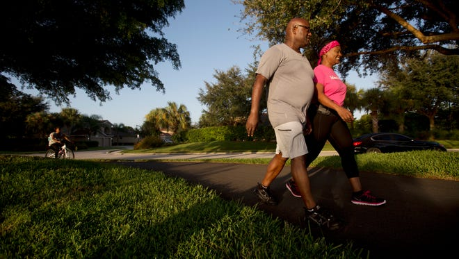Mt. Hermon Ministries pastor, William Glover and his wife, Cheryl finish up a morning walk on Thursday 9/8/2016. The couple walk a couple of times a week for health reasons. During one of those walks in May, Cheryl was needling Glover about something.  He started singing, which she recorded and posted to You Tube.  Every time they walk now, they post a video of him singing or rapping.