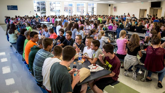 Hundreds of students eat lunch together Tuesday, September 13, 2016 at Marysville Middle School. Marysville Public Schools have received the most Schools of Choice applications of any district in St. Clair County and brought in 114 students this academic year.