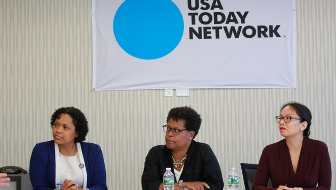 Leaders of the Westchester Children's Association, GPS4Kids Project Manager Erica Ayala, Deputy Director Allison Lake, and Director of Data Analysis Limarie Cabrera, meet with The Journal News/lohud Editorial Board, Sept. 13, 2016.