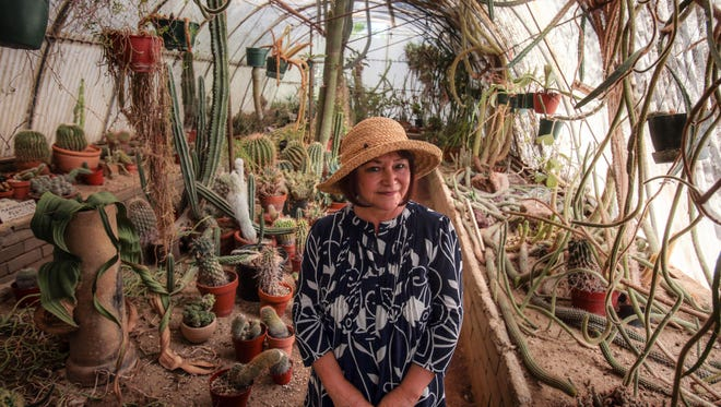 """Lydia Kremer the author of the book """"100 Things to Do in Palm Springs Before You Die,"""" at Moorten Botanical Garden in Palm Springs on Tuesday, September 13, 2016."""